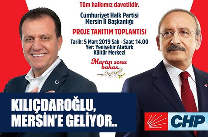 CHP Genel Başkanı Kemal Kılıçdaroğlu, Bugün Mersin'e Geliyor