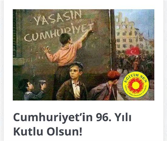 """Eğitim Sen'liler, """"Cumhuriyet'in 96. Yılı Kutlu Olsun!"""""""