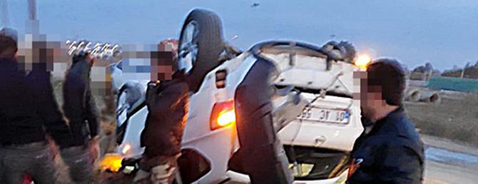 Polisten Kaçtı, Aracı Takla Attı